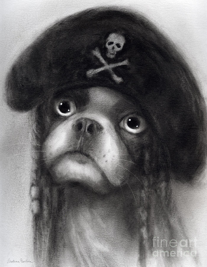Whimsical Funny French Bulldog Pirate  Painting