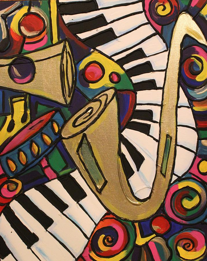 Whimsical Jazz 2 Painting  - Whimsical Jazz 2 Fine Art Print