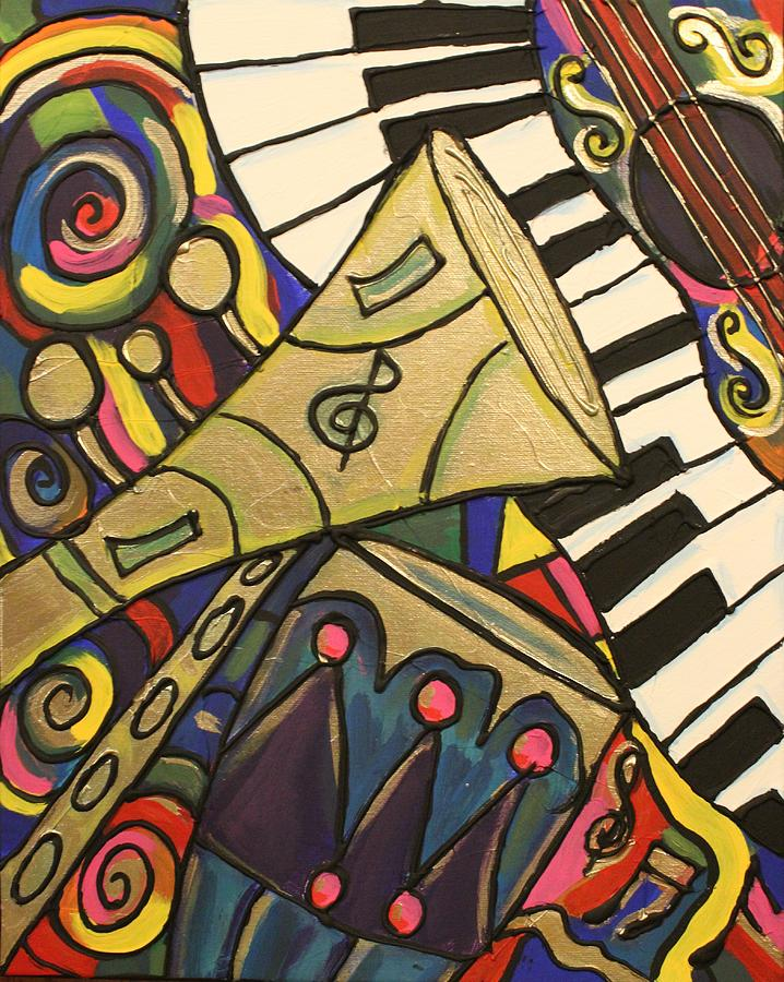 Whimsical Jazz Painting  - Whimsical Jazz Fine Art Print