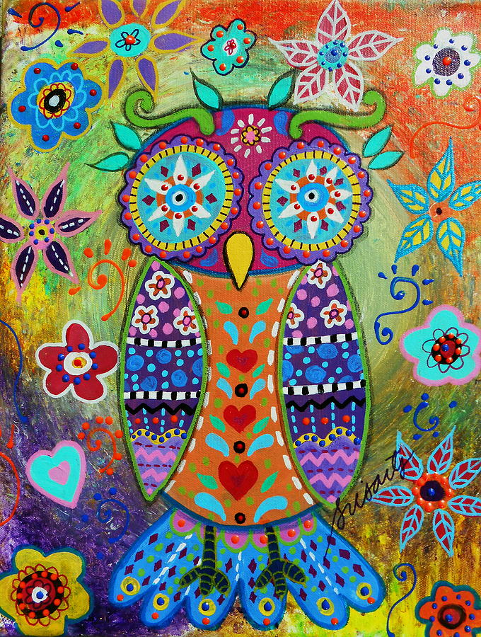 Whimsical Owl Painting By Pristine Cartera Turkus