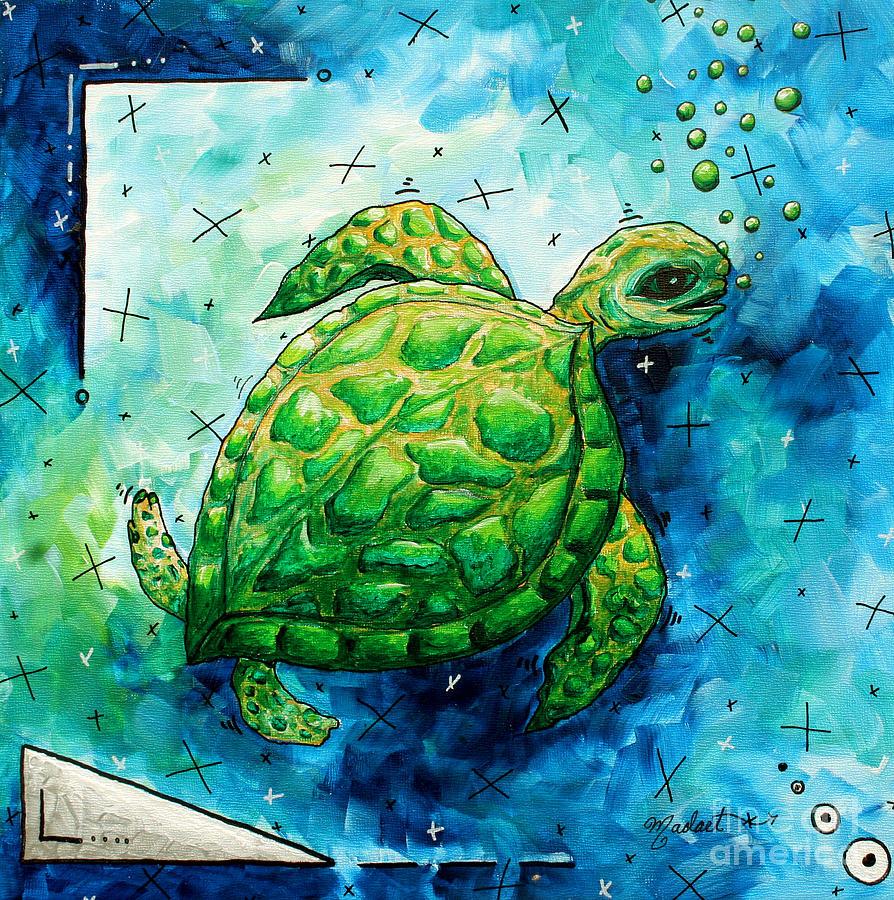 Whimsical Sea Turtle Original Painting By Megan Duncanson