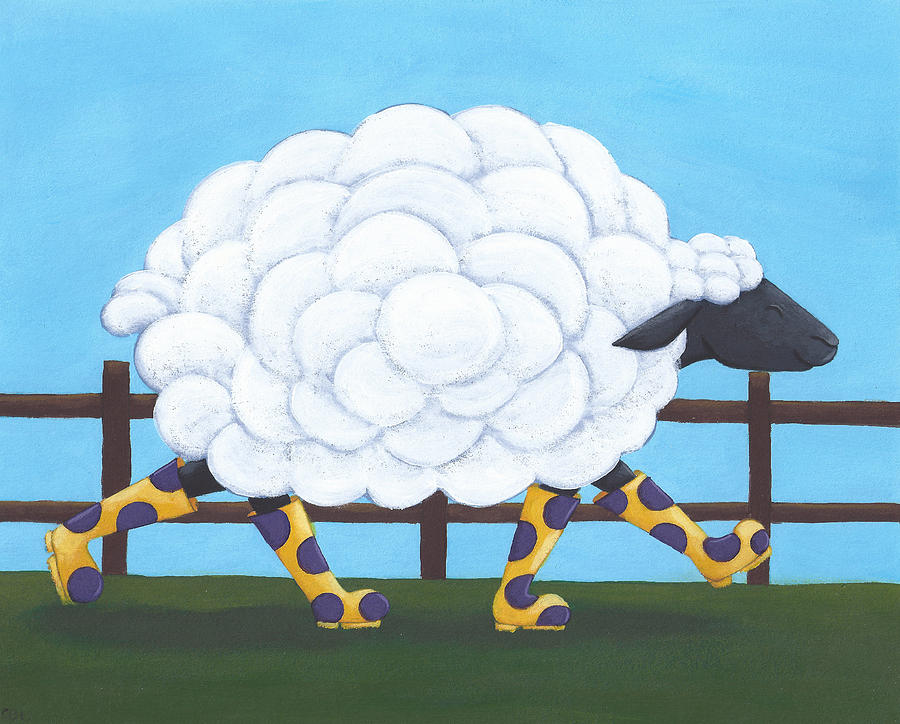 Whimsical Sheep Art Painting  - Whimsical Sheep Art Fine Art Print