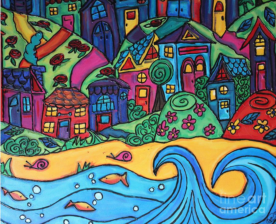 Whimsical Town Painting