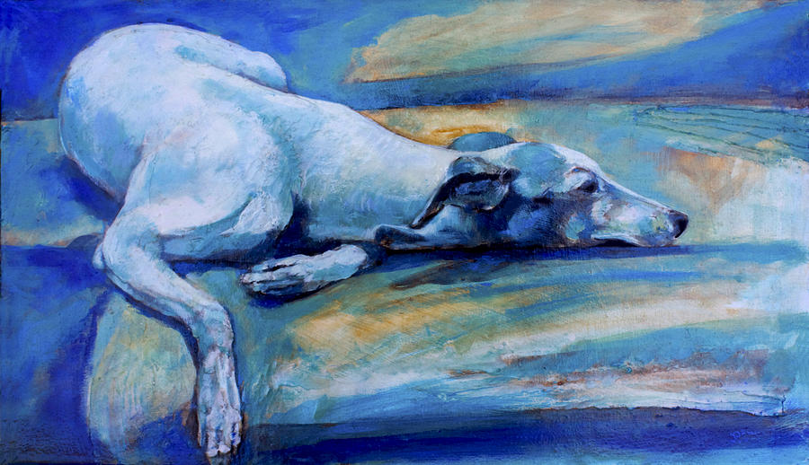Dog Painting - Whippet-effects Of Gravity-6 by Derrick Higgins