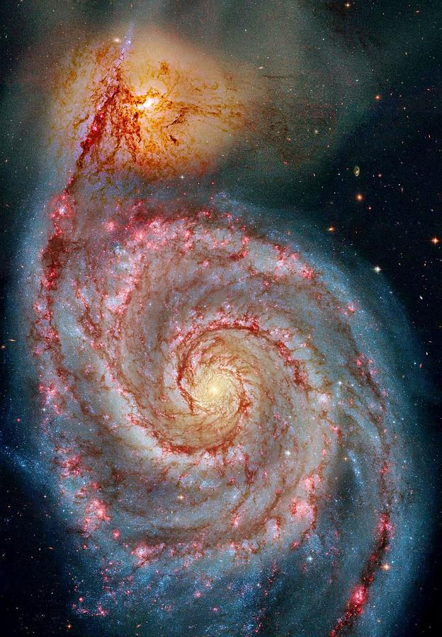 Astronomy Photograph - Whirlpool Galaxy In Dust by Benjamin Yeager
