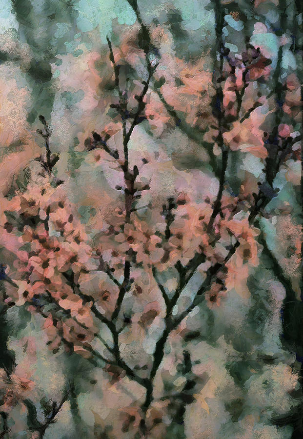 Whispering Cherry Blossoms Painting  - Whispering Cherry Blossoms Fine Art Print