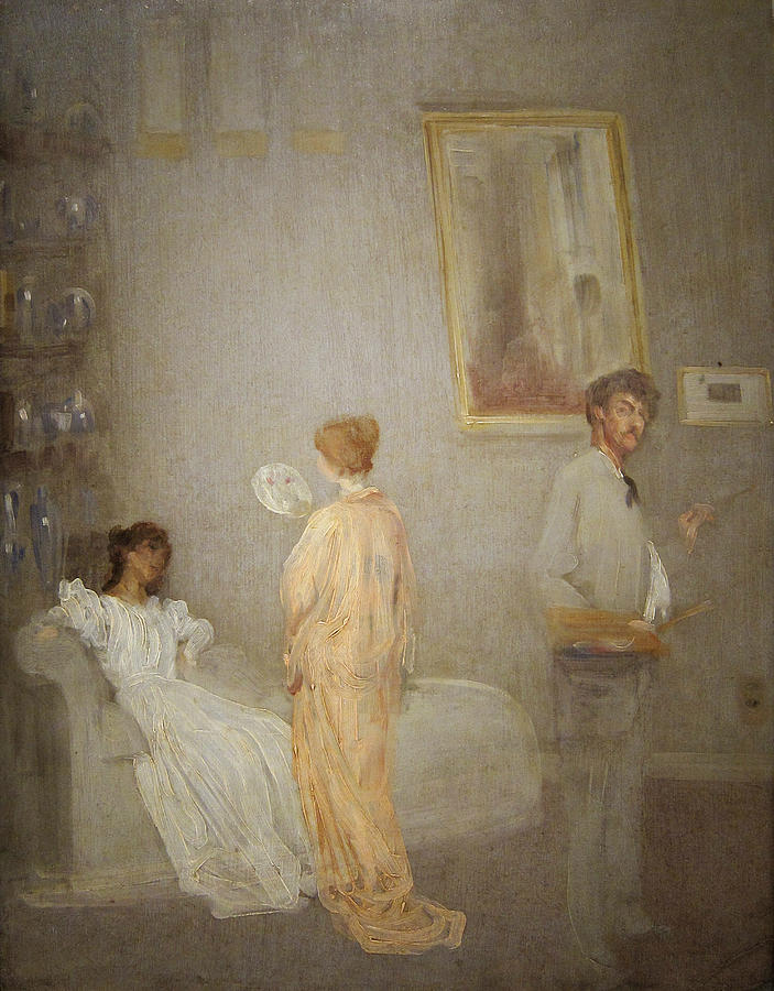 Kimono; Models; Artist; Painting; Interior; Self; Portrait; Impressionist; Male; Female; Model; Fan; Palette; Brush Painting - Whistler In His Studio by James Abbott McNeil Whistler