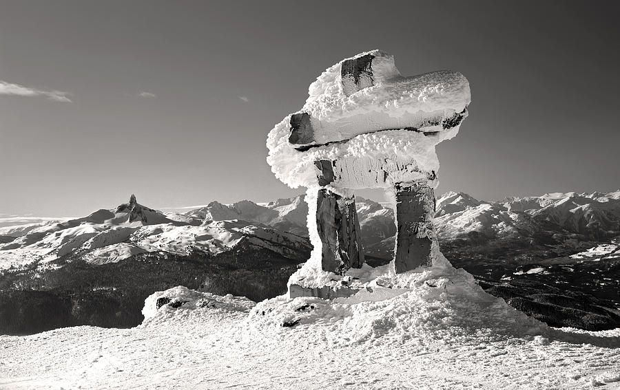 Whistler Summit Inukshuk Black And White Photograph