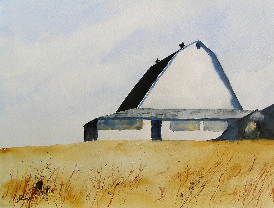 White Barn Painting