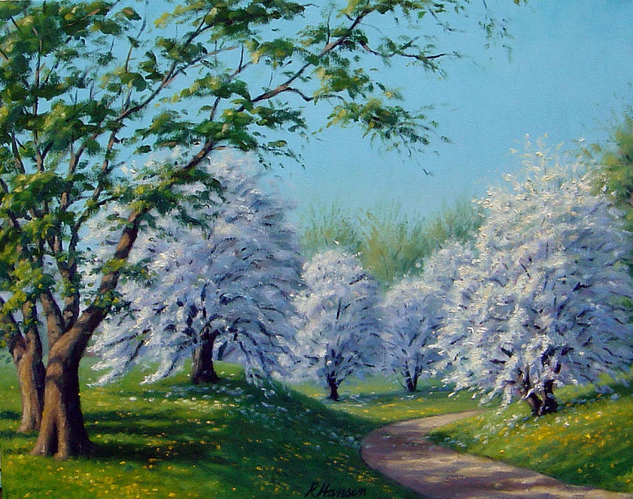 Landscape Painting - White Blossoms by Rick Hansen