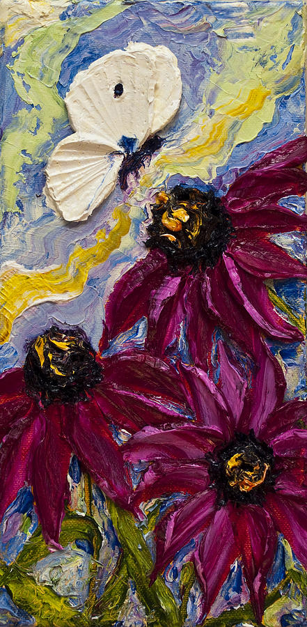 White Butterfly And Purple Flowers Painting