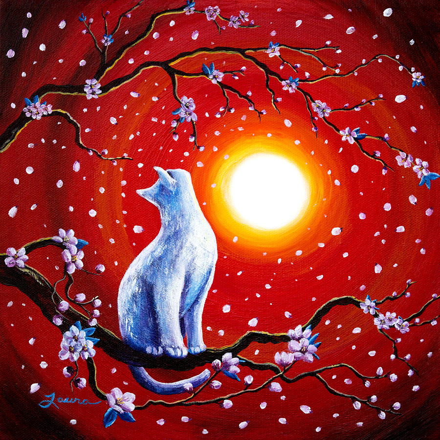 White Cat In Bright Sunset Painting  - White Cat In Bright Sunset Fine Art Print