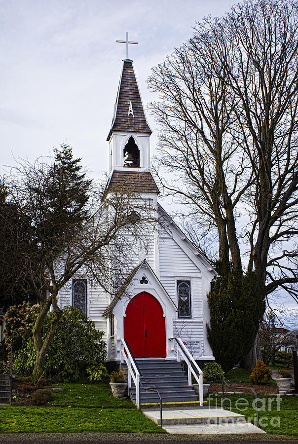 White Church With Red Door Photograph  - White Church With Red Door Fine Art Print