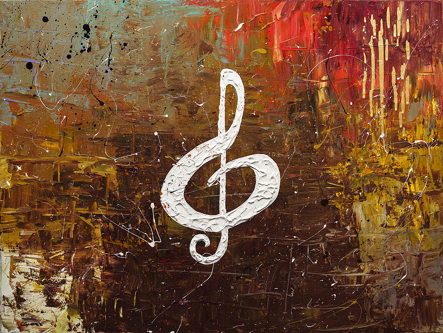 Music Abstract Art Painting - White Clef by Carmen Guedez