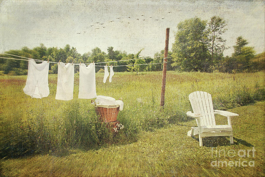 White Cotton Clothes Drying On A Wash Line  Photograph  - White Cotton Clothes Drying On A Wash Line  Fine Art Print