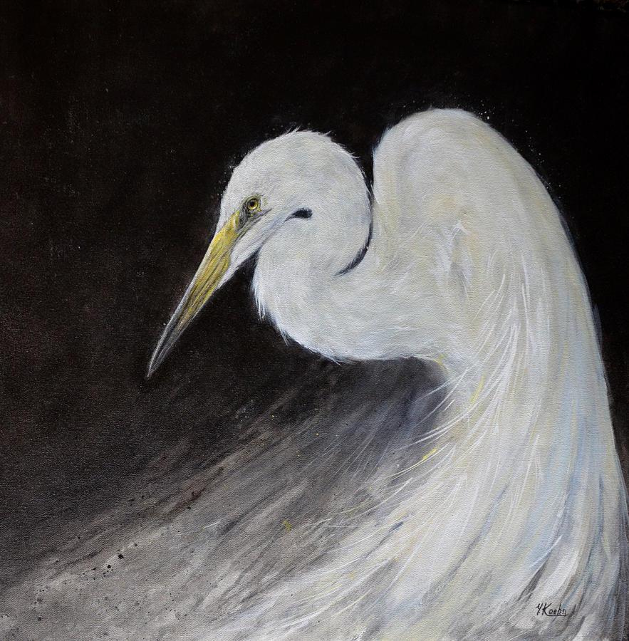 White egret painting by yelena koehn for White heron paint