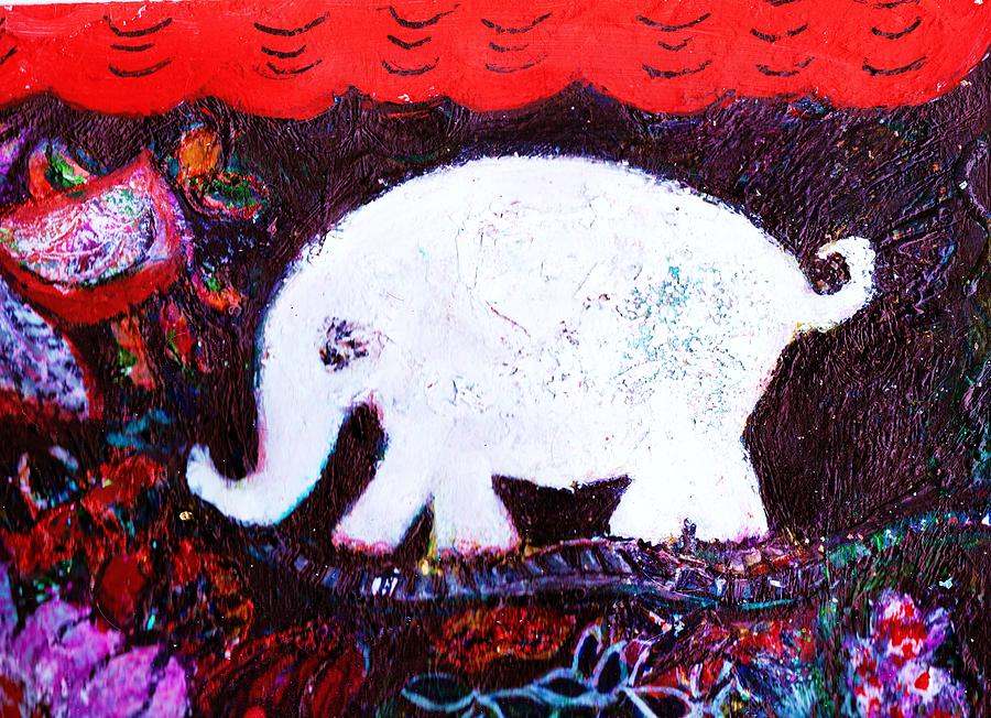 White Mixed Media - White Elephant Walking In A Mysterious Place by Anne-Elizabeth Whiteway