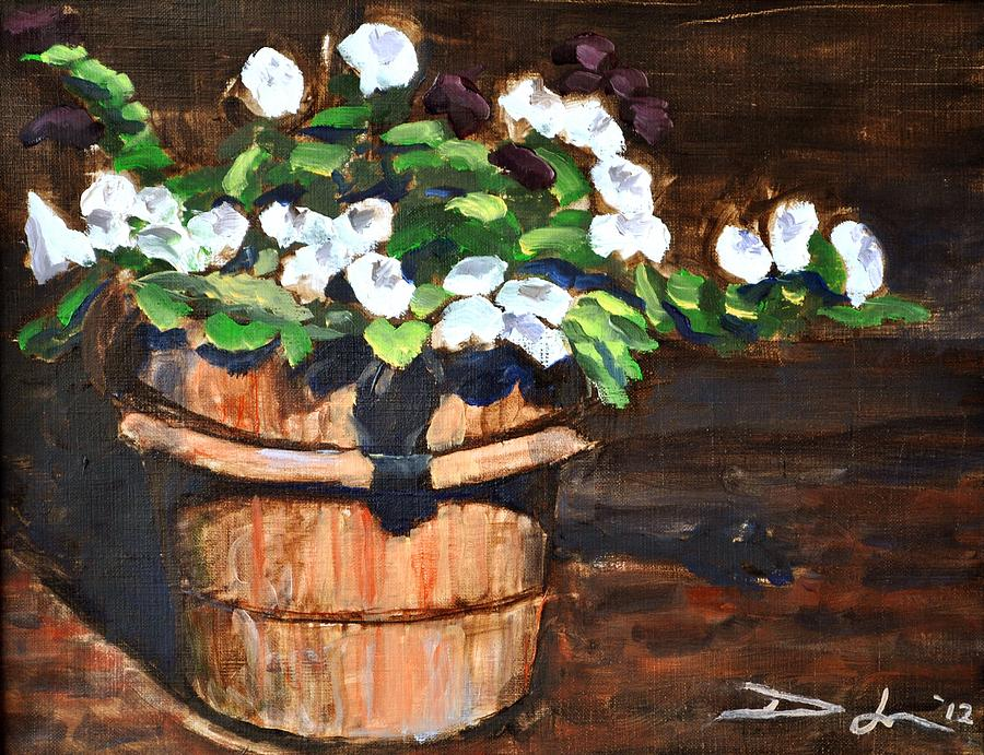 White Flowers In A Terracotta Pot Painting