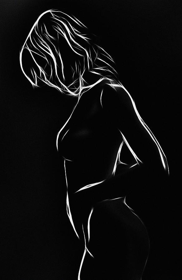 White Girl In Black Night Painting
