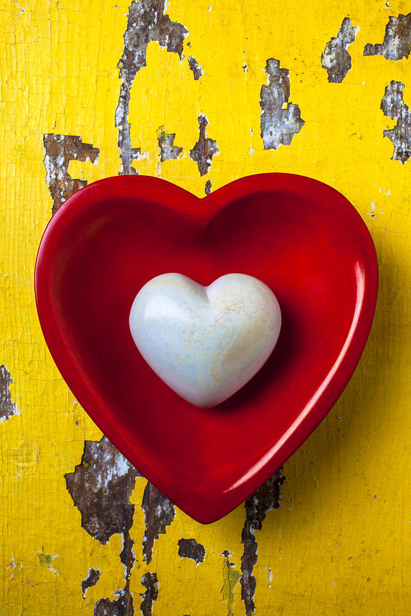 White Heart Red Heart Photograph