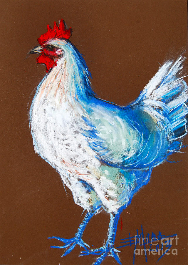 White Hen Painting  - White Hen Fine Art Print