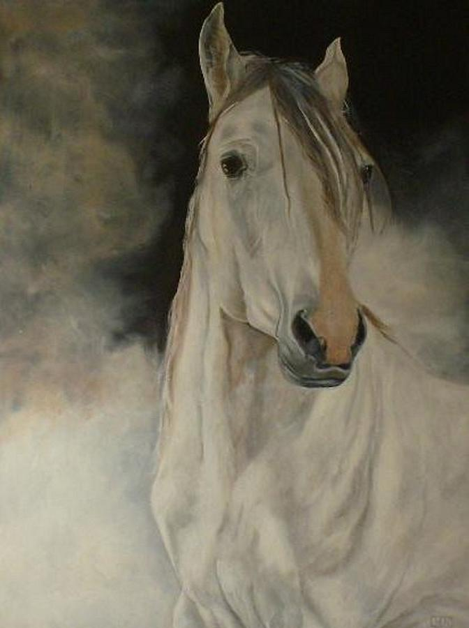 White Horse Painting - White Horse by Julie Bond