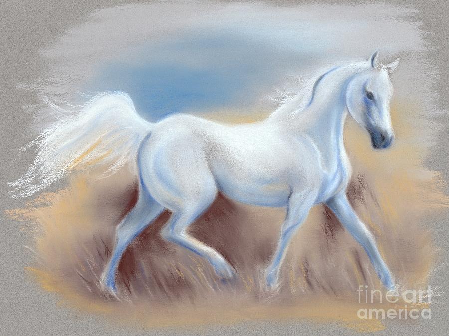 Beautiful white horse paintings - photo#25