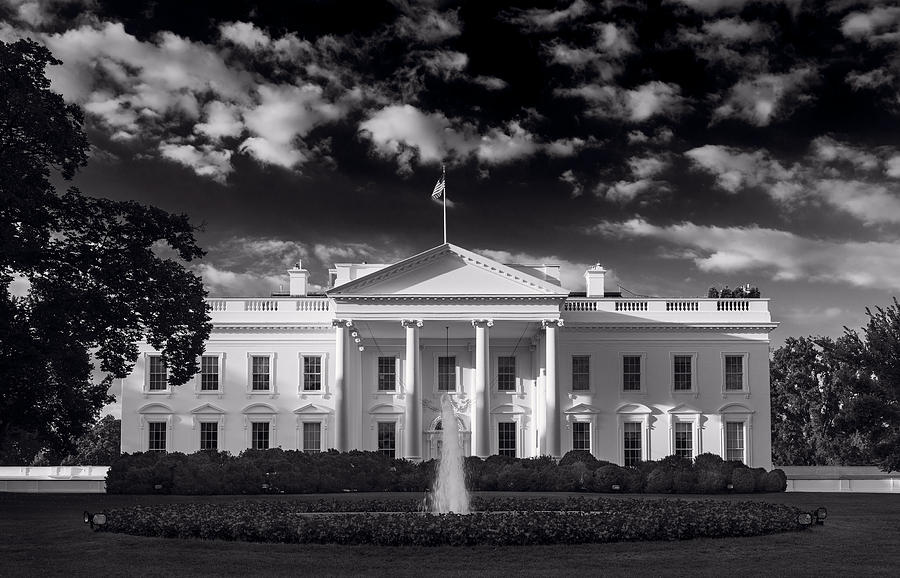 White House Sunrise B W Photograph