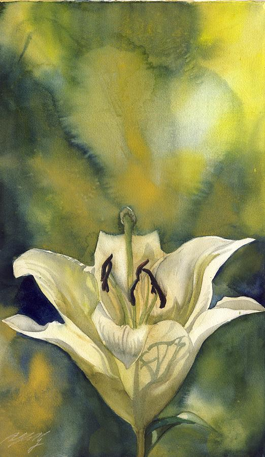 White Lily With Blue Painting  - White Lily With Blue Fine Art Print