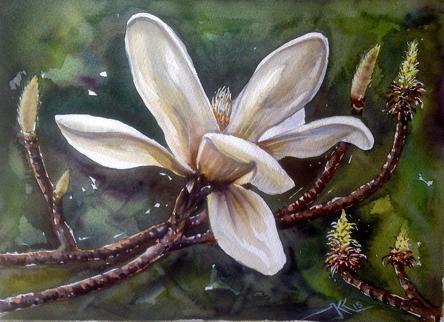 White Magnolia Painting by Katerina Kovatcheva
