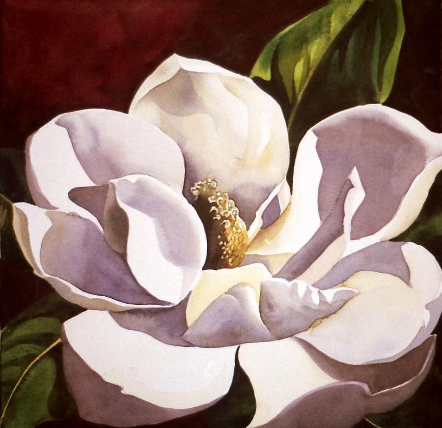 White Magnolia With Red Painting