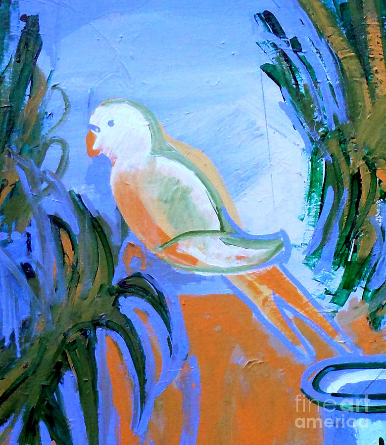 White Parakeet Painting