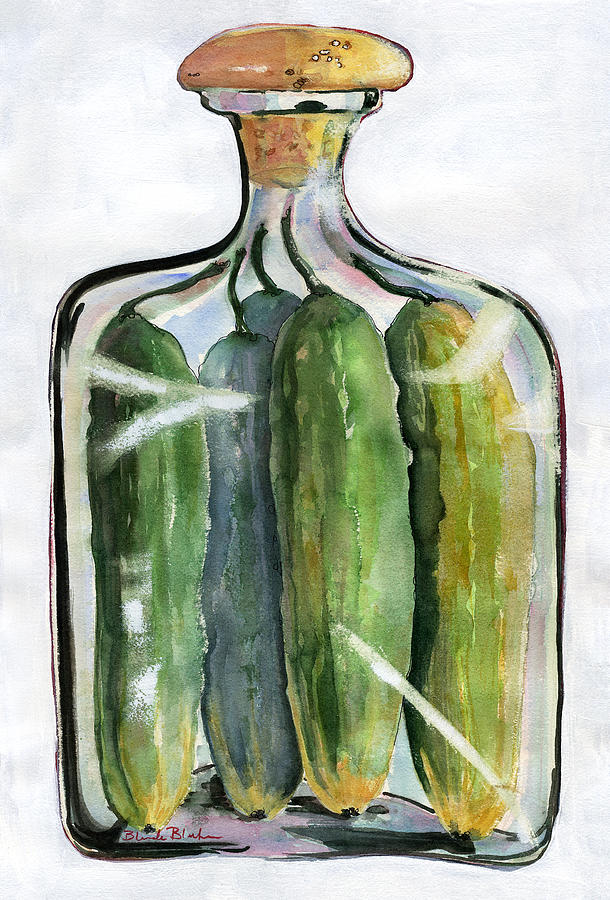 White Pickle Jar Art Painting