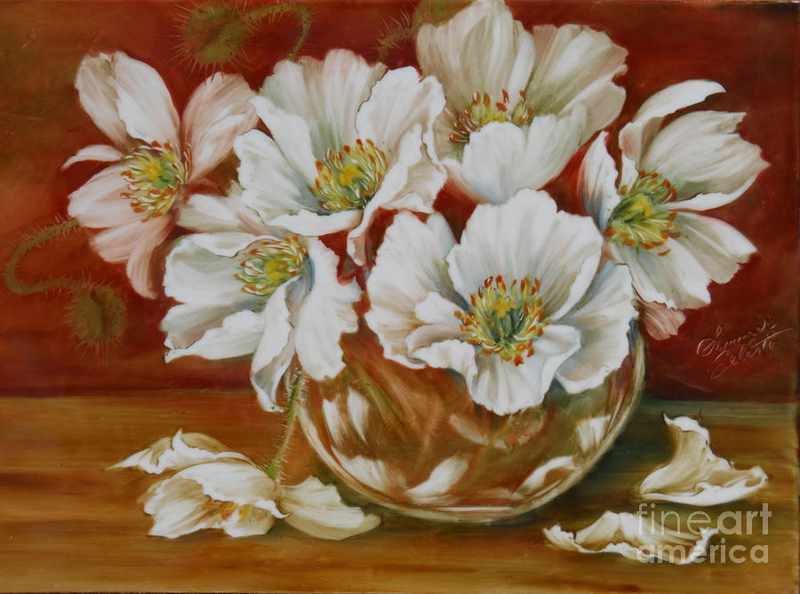 White Poppies Painting  - White Poppies Fine Art Print