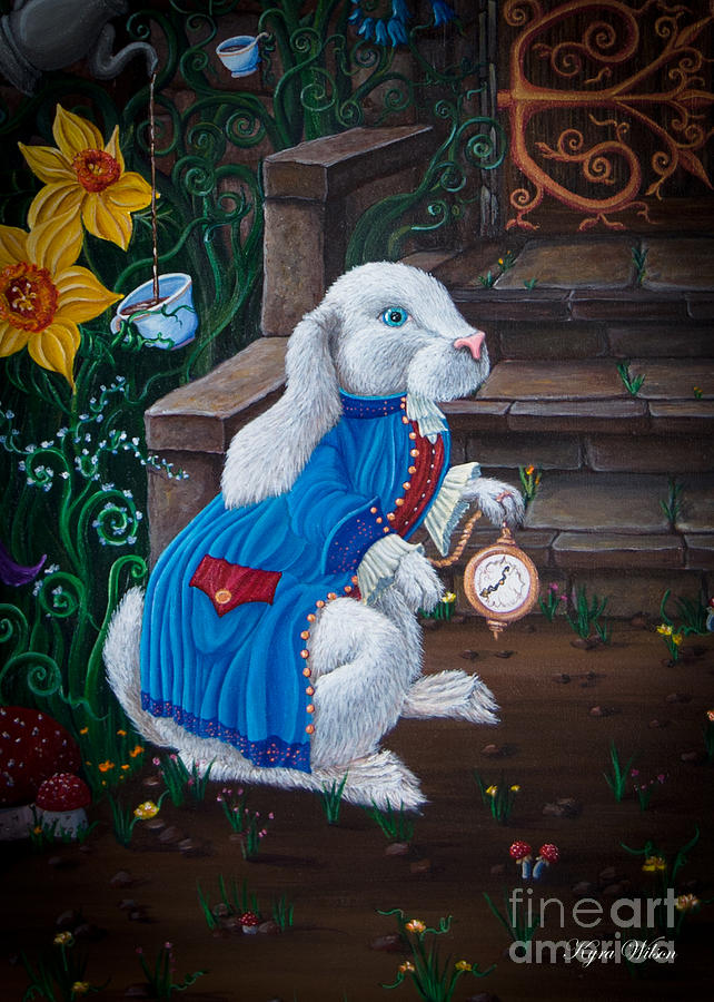 White Rabbit Black Painting  - White Rabbit Black Fine Art Print