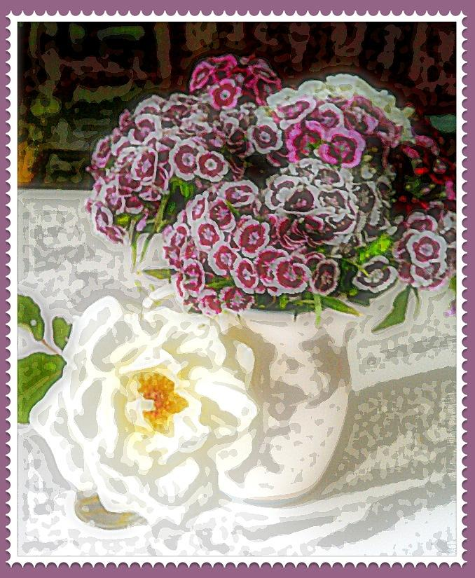 White Rose With Sweet Williams Digital Art  - White Rose With Sweet Williams Fine Art Print