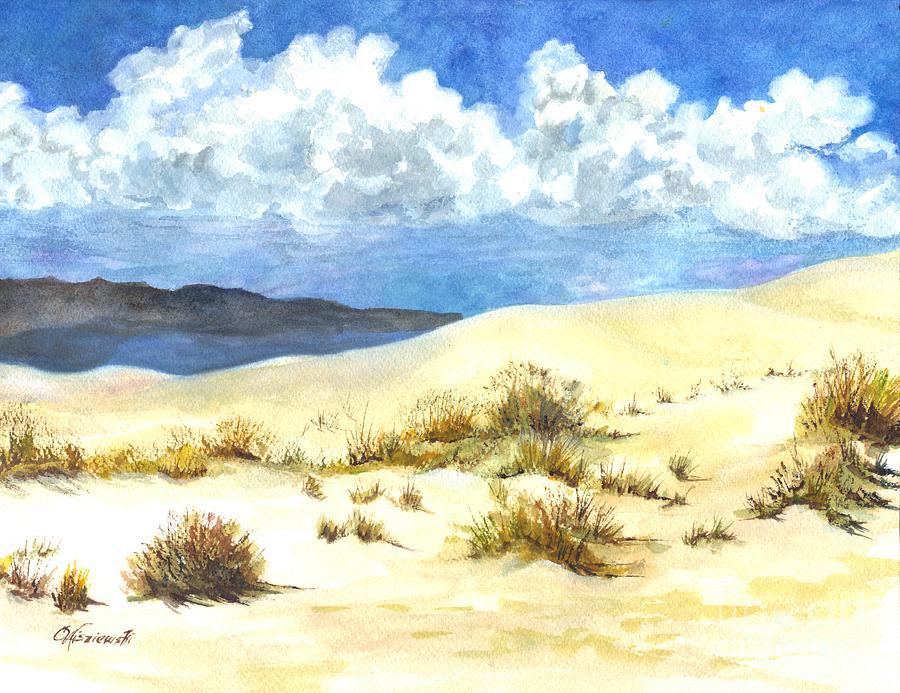White Sands New Mexico U S A Painting  - White Sands New Mexico U S A Fine Art Print