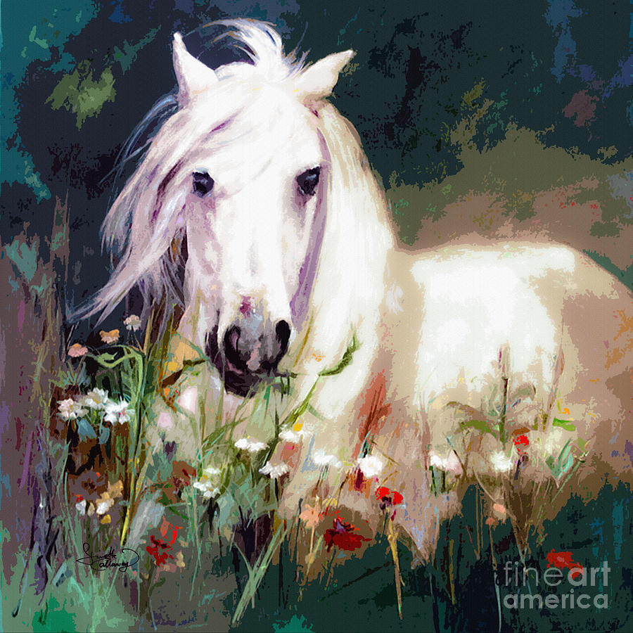White Stallion In Wildflower Field Painting by Ginette ...