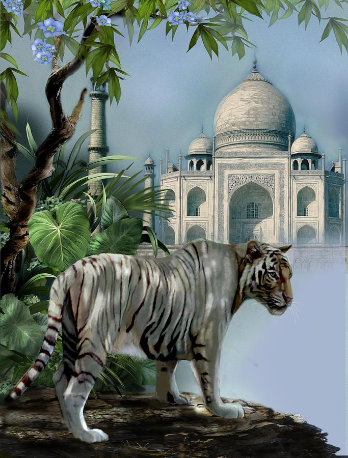 White Tiger And The Taj Mahal Painting  - White Tiger And The Taj Mahal Fine Art Print