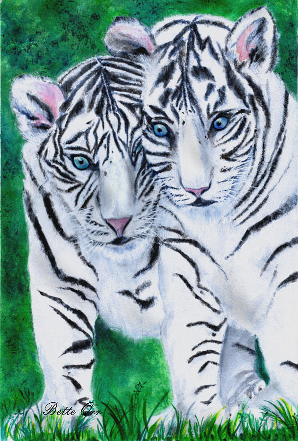 White Tiger Cubs Painting