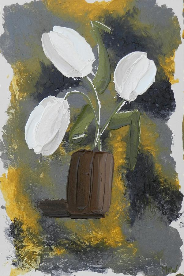 White Tulips Painting  - White Tulips Fine Art Print