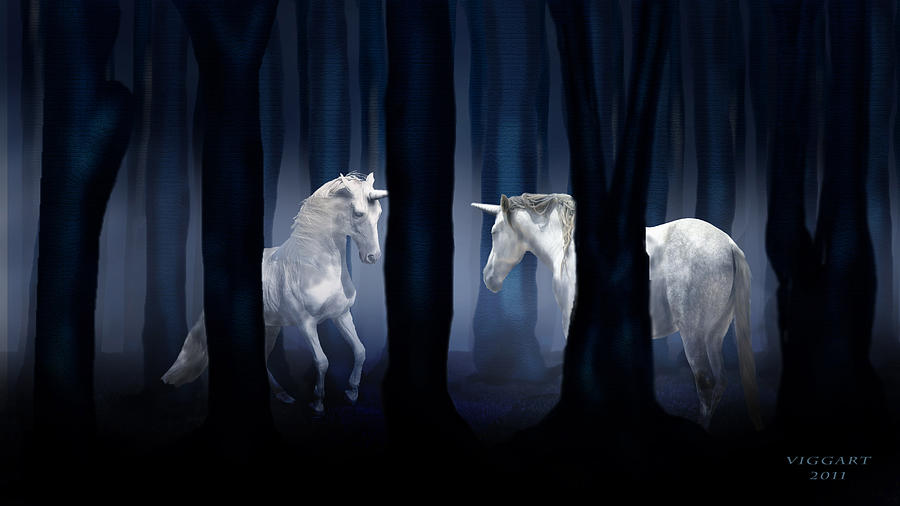 White Unicorns Digital Art  - White Unicorns Fine Art Print