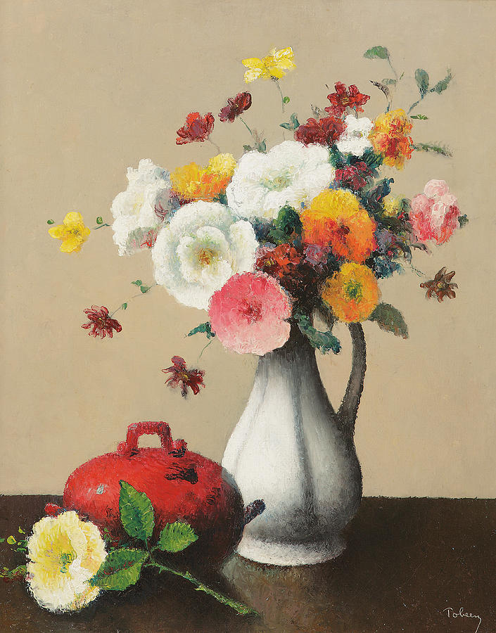 White Vase And Red Box Painting