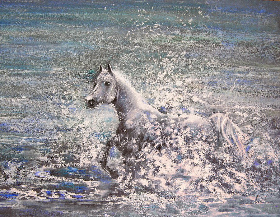 White Wild Horse Painting
