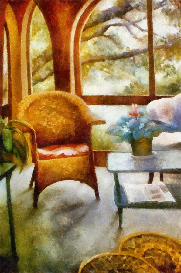 Wicker Chair And Cyclamen Painting