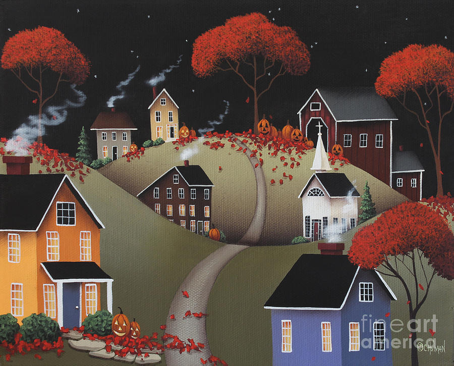 Wickford Village Halloween Ll Painting  - Wickford Village Halloween Ll Fine Art Print