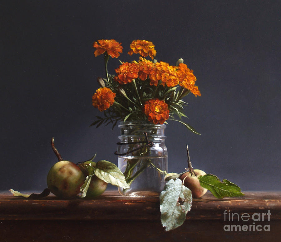 Apples Painting - Wild Apples And Marigolds by Larry Preston