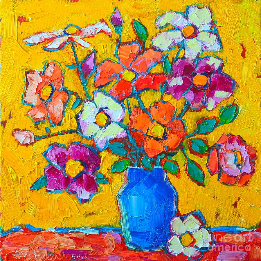 Wild Colorful Roses Painting  - Wild Colorful Roses Fine Art Print