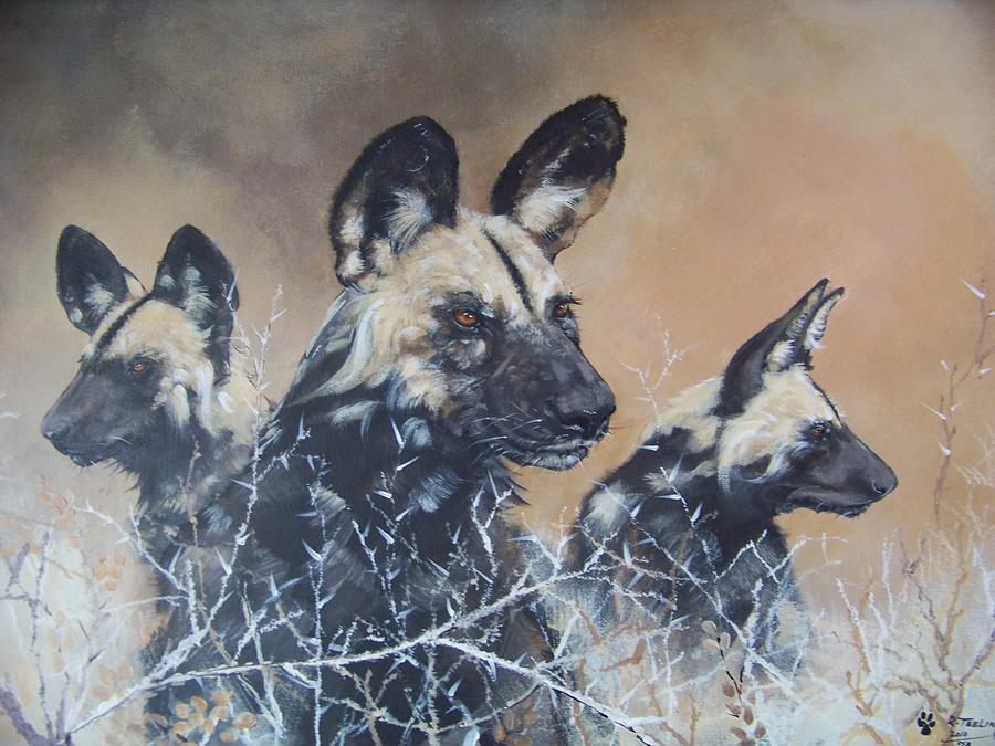 Wild Dog Trio Painting