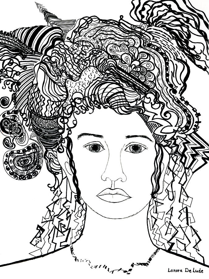 Wild Hair Portrait In Shapes And Lines Drawing